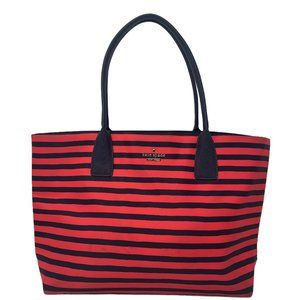 Kate Spade Classic Nylon Catie Striped Red Blue Tote Shoulder Bag